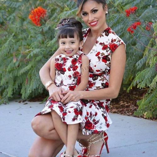 Summer Boho Style Mother And Daughter Dress Sleeveless Vintage Mom And Daughter Dress