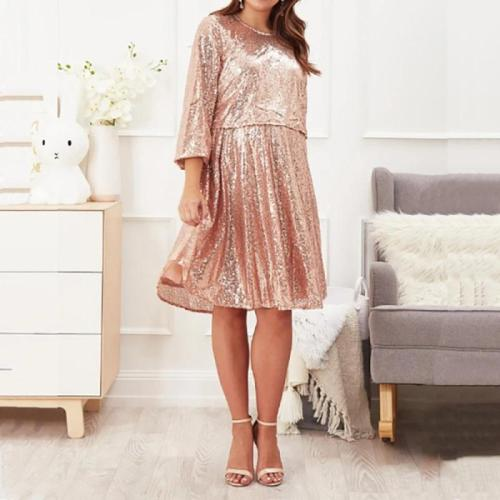 Maternity Fashion Round Neck Solid Color Sequin Dress
