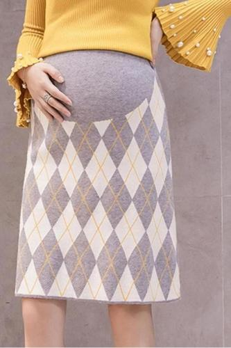Maternity Casual Printed Color Slim Knit Skirt