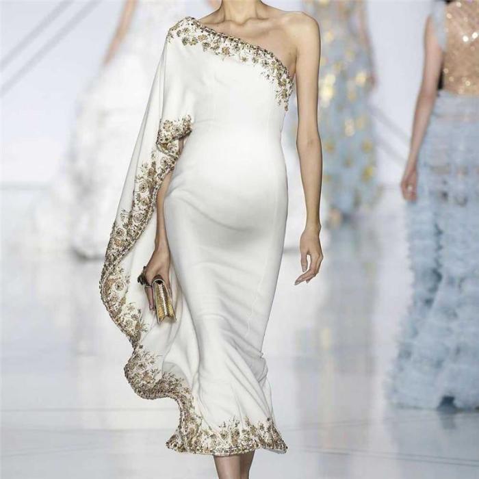 Maternity Fashion One Shoulder Printed Dress