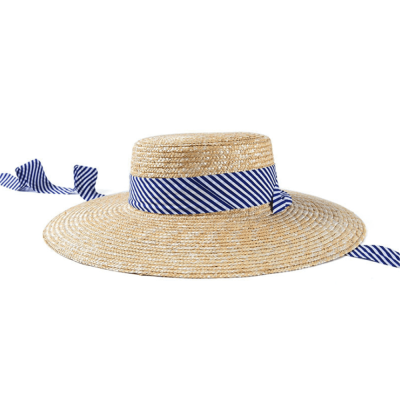 Fashion Casual Striped   Ribbon Straw Hat