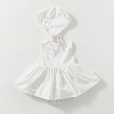 Sweet Princess Pure Color Cotton Creeper Dress with Hat