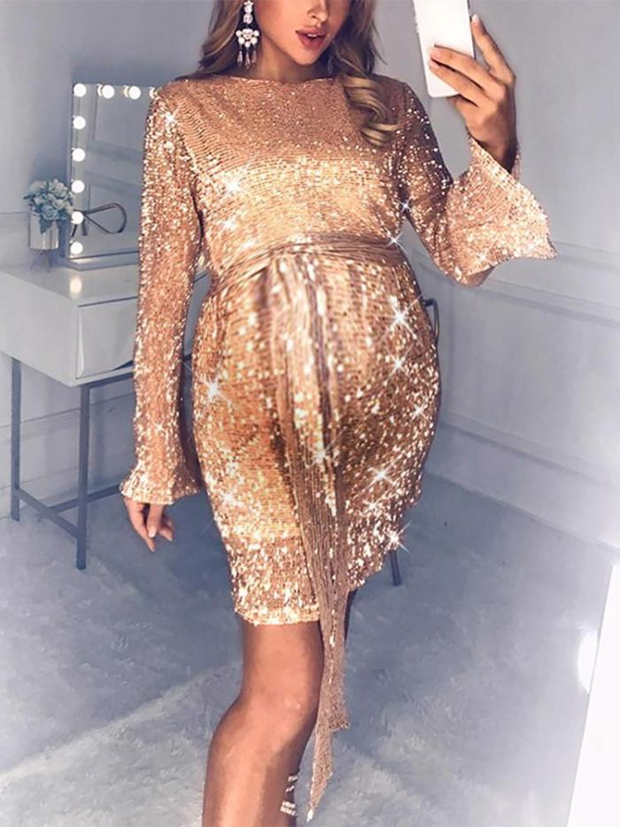 Maternity Elegant Round Neck Sequined Flare Sleeve Mini Evening Gown
