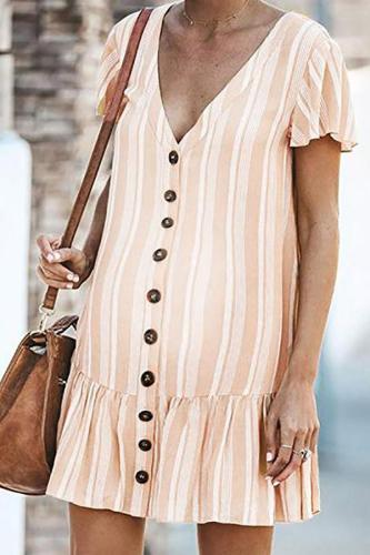 Maternity V-Neck Stripe Falbala Dress