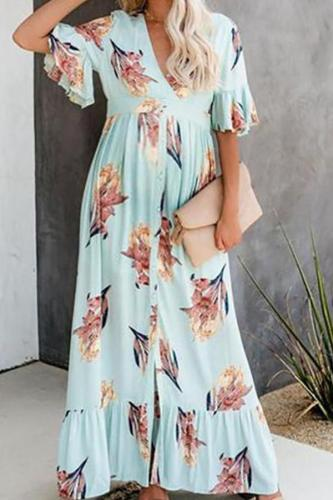 Maternity V-Neck Long Dress With Short Sleeves, Buckle And Flounce