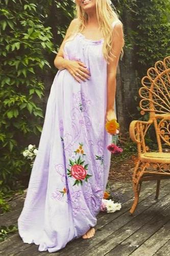 Fashion embroidered maternity strap dress