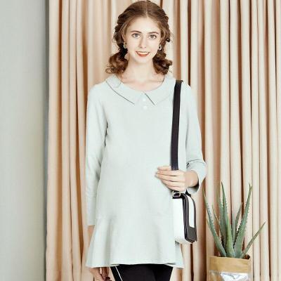 Maternity dress autumn lapel temperament large size fishtail swing T-shirt