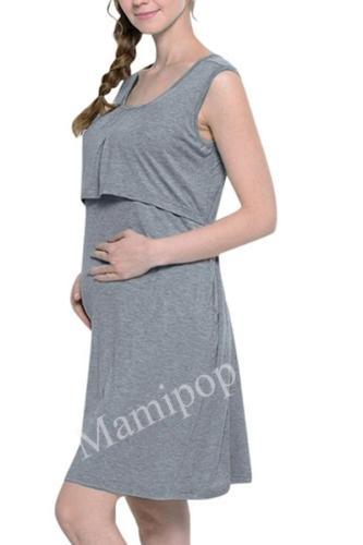 Pregnant Women Dress Fashion Solid Color Stitching  Round Neck Sleeveless Nursing Dress