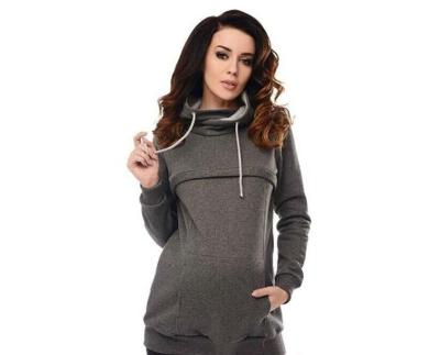 Women Drawstring Cowl Neck Long Sleeve Maternity Sweatshirts Zip Front Nursing Hoodies
