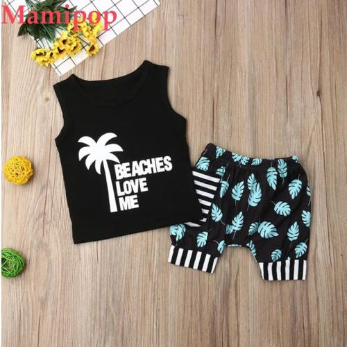 Baby  Boy Clothes Sets Coconut Tree Tops Vest Shorts Outfit Set