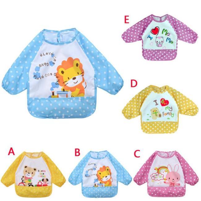 Baby Bibs&Burp Clothes Long Sleeve Waterproof Bib Toddler Boy Girl Feeding Art Apron Towel Baby bibs