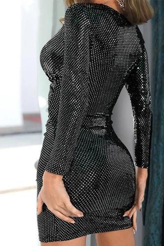 Maternity Black Long Sleeve Deep-V Dress