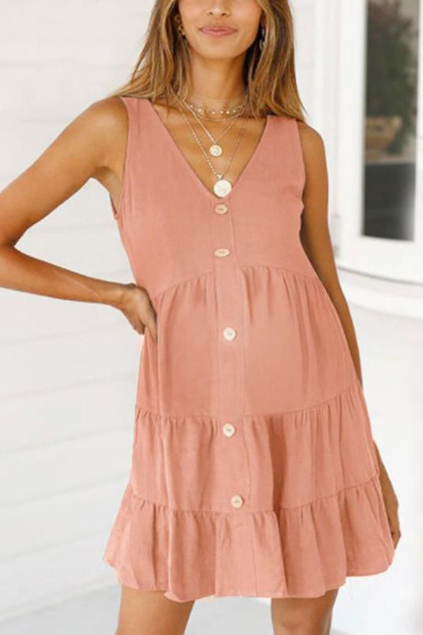 Maternity V-Neck Sleeveless Dress