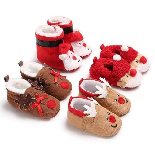 Toddler Kids Girls Christmas Snow Boot Shoes Xmas Gifts Soft Sole Newborn Baby Girl Crochet Winter Warm Prewalker Mocassins