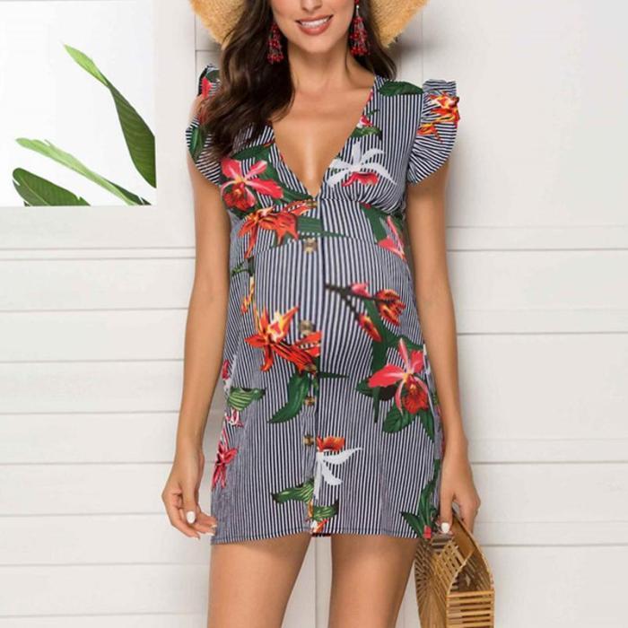 Maternity V-Neck Stripe Printed Casual Above Dress
