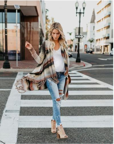 Maternity Casual Fringed Sweater Sweater Shoulder Coat