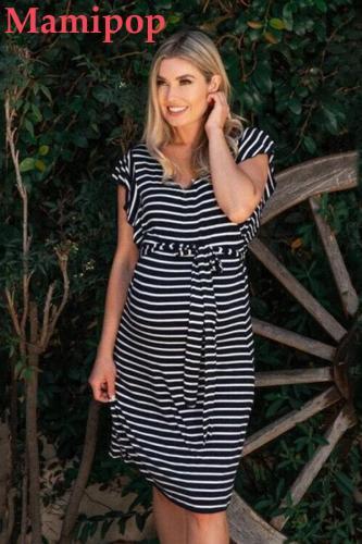 Pregnant Stripe Summer Ladies Strapless Casual Plus Size Dresses