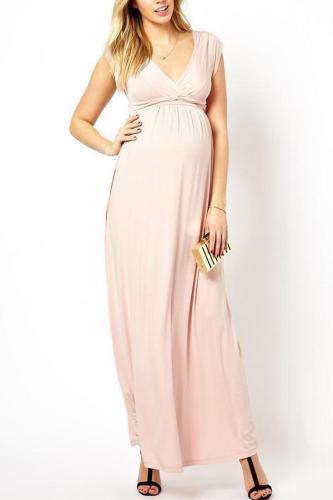Maternity Sleeveless V-Neck Full Length Dress