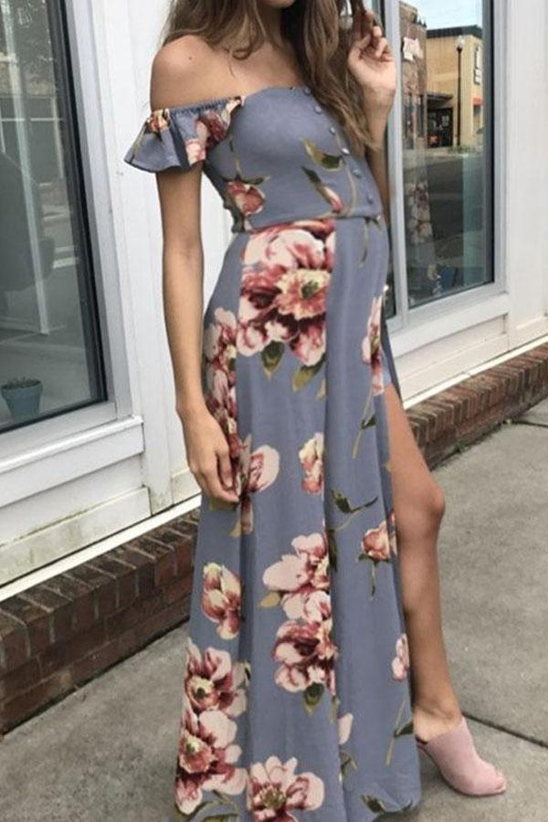 Maternity Elegant Printing Strapless Maxi Dress