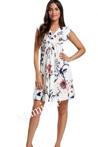 New Sexy Pregnant Women V-neck Breast-feeding Loose Print Dress