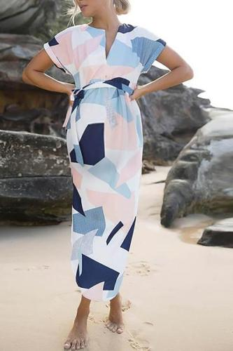 Maternity Printed Diamond Long Shirt Dress