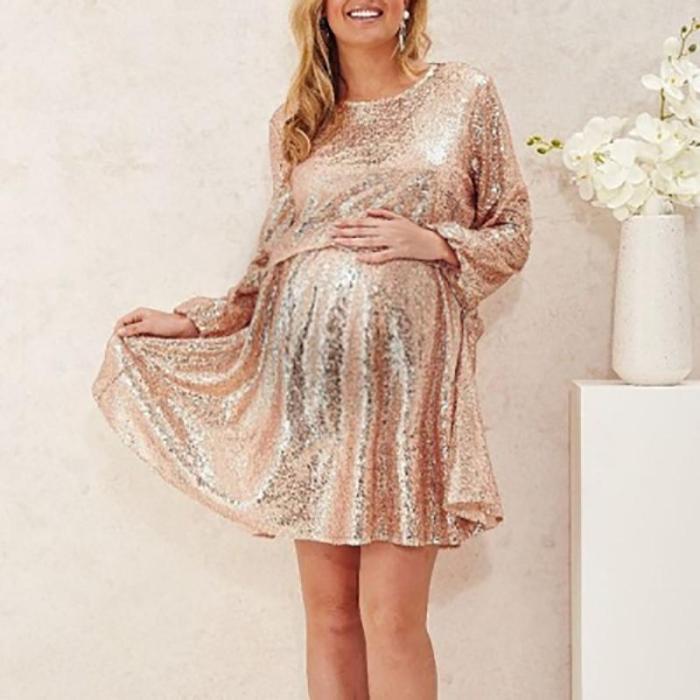 Maternity Fashion Round Neck Long Sleeve Dress
