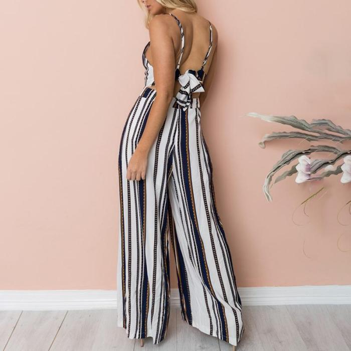 Maternity Deep V-Neck Stripe Printing Loose Jumpsuit