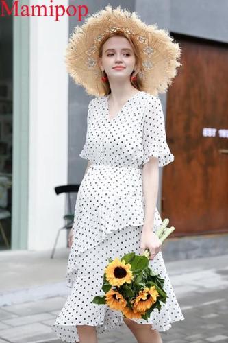 V-neck Polka Dot Long Short-sleeved Pregnant Dress