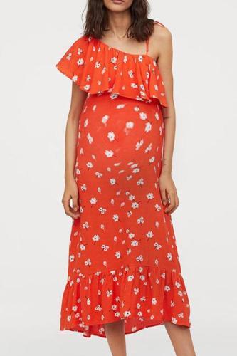 Maternity One Shoulder Falbala Printed Maxi Dress
