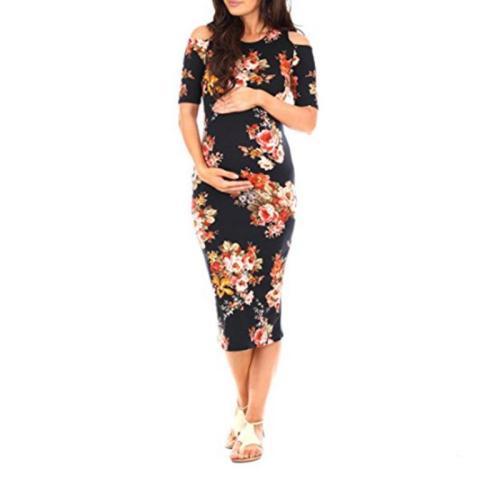 Maternity Floral Print Midi Dress
