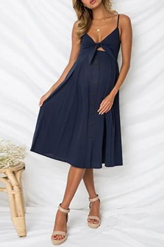 Maternity Sling Button Halter Bow Dress