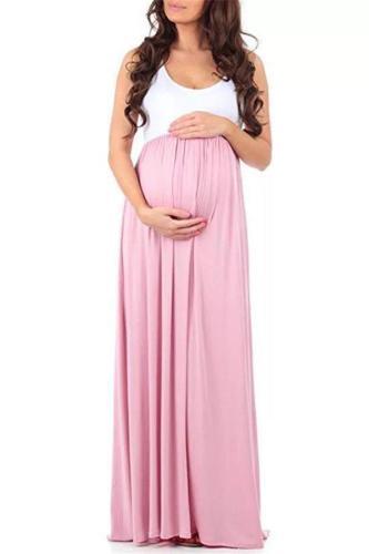 Maternity Sleeveless Stitching Dress