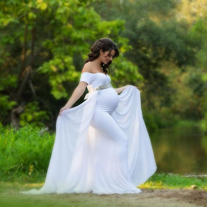 Maternity Photography Props Dress with Cape Stretchy Dress