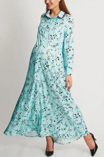 Maternity Floral Print Long Sleeves Maxi Dress