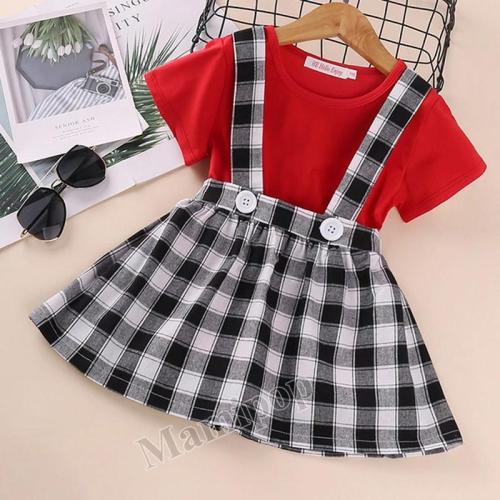 2020 summer girl's back belt skirt set solid Short Sleeve Plaid Skirt two-piece set