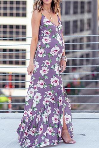 Maternity Full Length V Neck Sleeveless Purpledress
