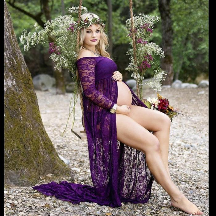 Lace Long Sleeve Maternity Dresses Shoot Maxi Gown Dresses