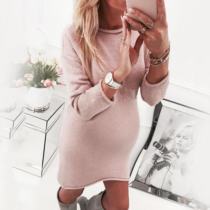 Maternity Solid Color Long Sleeve Sweater Dress