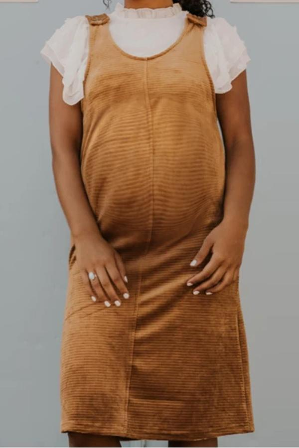 Maternity Pure Color Sling Dress