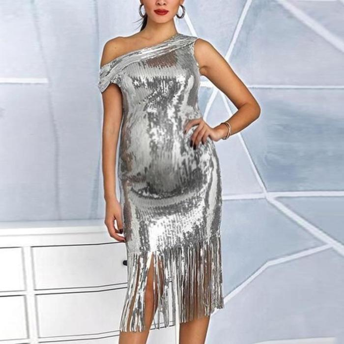 Maternity fashion bias shoulder fringe dress