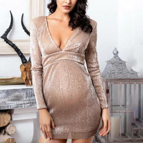 Maternity chic solid color V-neck sequined dress