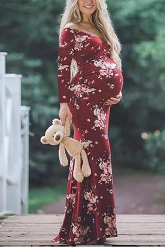 Maternity Fashion Floral Printed V Neck Off Shoulder Long Sleeve Dress