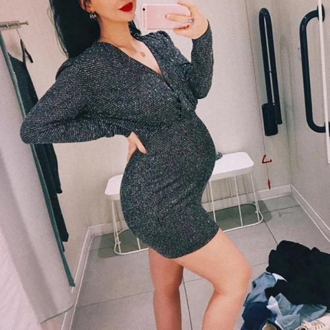 Maternity Fashion V-neck Solid Dress