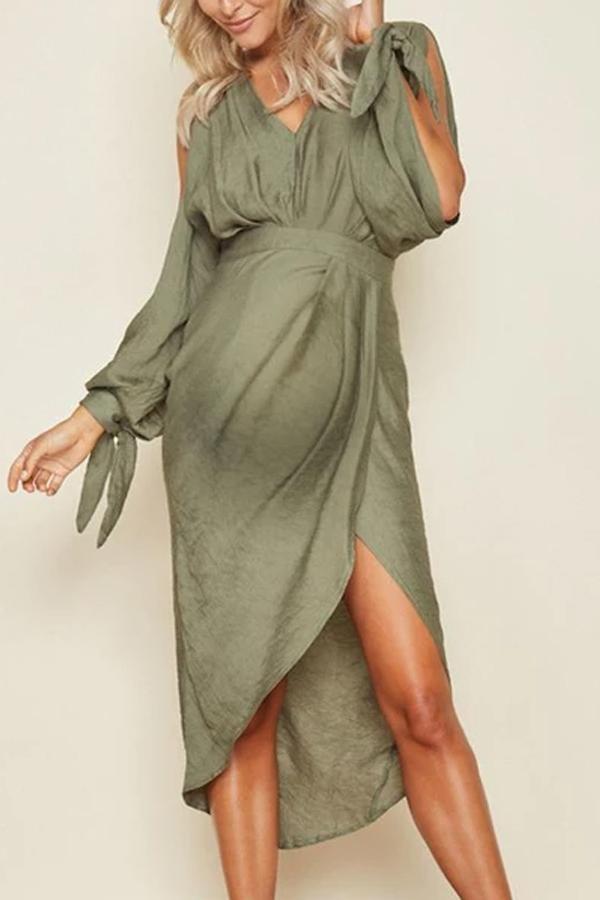 Maternity Long Sleeve Strap Irregular Dress