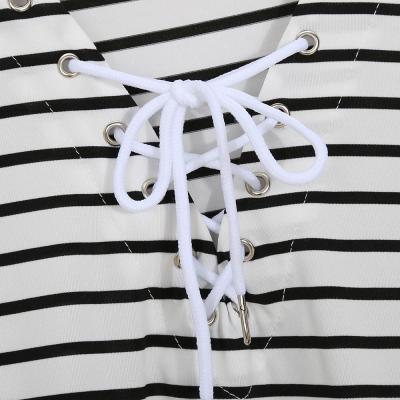 V-Neck  Lace-Up  Printed Shift Dress