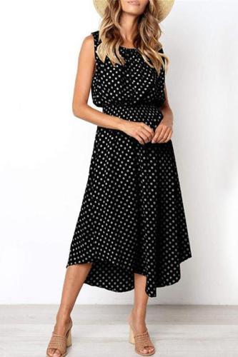 Maternity Printed Polka Dot Round-Neck Dress