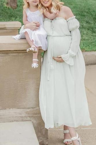 Maternity Off-Shoulder Long Sleeve Photoshoot Dress