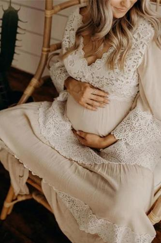Maternity Fashion V-neck Lace Stitching Dress