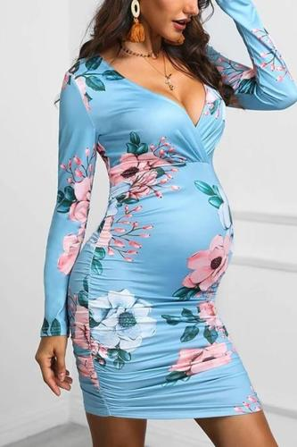 Maternity Floral Pattern Blue Deep V Neck Dress