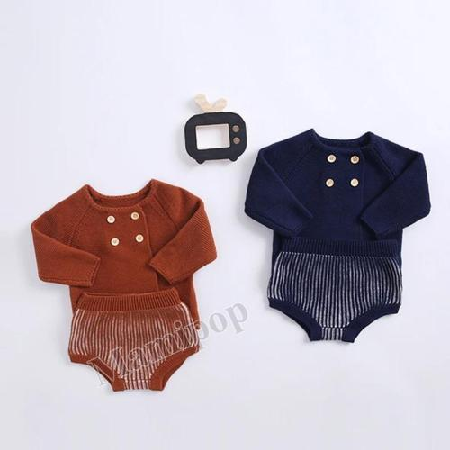 Children's Wear Cotton Knitted  Boys and Girls' Lantern Shorts Long Sleeve Cardigan 2-Piece Set